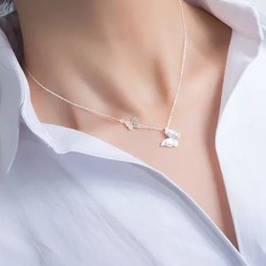 NEW Sterling Silver Double Butterfly Necklace